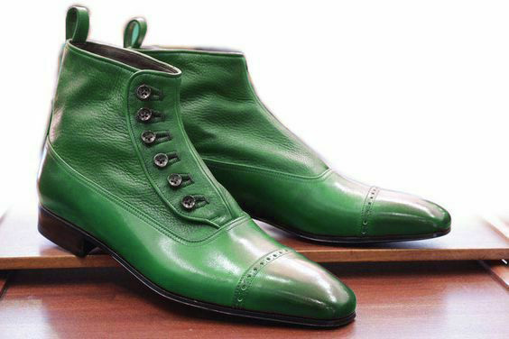 Handmade Men's Green Two Tone High Ankle Buttons Leather Boots