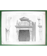 ARCHITECTURE PRINT : Germany Fireplace in Castle of Baden - $6.42