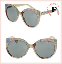 GUCCI 0325 Ivory Rainbow Glitter Stripe Cat Eye Sunglasses GG0325S Women - $267.30