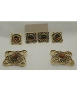 2 Sets Pin & P. Earrings Gold-tone Amber Plastic Stone Antique Brass Loo... - $12.34