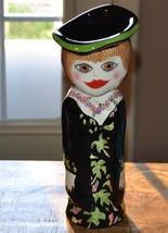 "Bella Casa Ganz Hand Painted 11.5 Inch Lady Ceramic Vase ""PEARL"" By Susa... - $18.69"