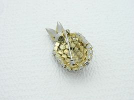 Vintage Gold Tone Topaz Green Rhinestone Pineapple Pin Brooch image 4
