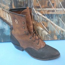 ARIAT Western Leather Lace-Up Ankle Boots, Women Size 9, Black & Brown - $56.09