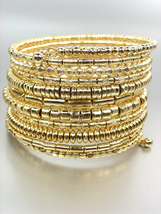 CHUNKY Gold Metallic Beads Twist Wrap Coil Wide PLUS SIZE Statement Brac... - €14,47 EUR