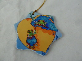 Porcelain Flat Christmas Ornament Cute frogs on fruit & leaves Lawrence ... - $8.90