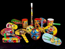 Group 15 Vintage Noisemakers Rattles Lithographed Tin Clowns Circus US M... - $79.48