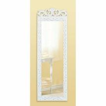 Distressed White Wall Mirror Elegant Floral Crown Frame - $35.95