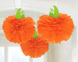 Halloween Fall Pumpkin 3 Hanging Fluffies Orange Party Decorations - $13.06