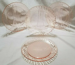 Vintage Arcoroc France Rosaline Pink Swirl Luncheon Plates-Set of 4, cir... - $27.00