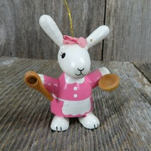Vintage Bunny Rabbit Baker Ornament Wooden Christmas Wood Pink Easter Wh... - $31.99