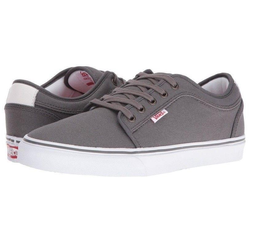 VANS Chukka Low Pewter/White/Red Skate Shoes MEN'S 6.5 WOMEN'S 8