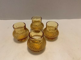 Lot of four vintage amber diamond cut votives - $15.00