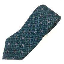 Henry Grethel Men's Green Silk Tie 58 x 3 Geometric - $5.56