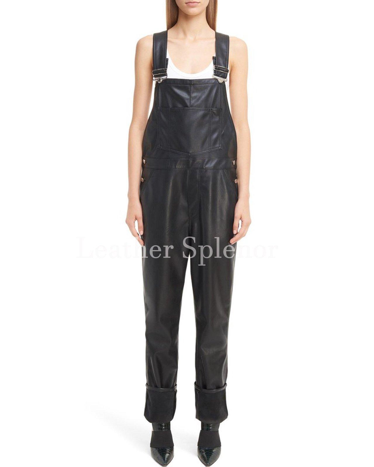 Folded Hem Women Leather Jumpsuit