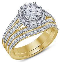Round Cut White CZ 14k Yellow Gold Plated 925 Silver 2Pc Bridal Wedding Ring Set - $101.80