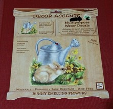 """Loew Cornell Water Release Decal Full Color 7"""" x 8"""" BUNNY SMELLING FLOWE... - $5.82"""