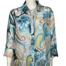 Dressbarn Shirt Womens 22 / 24 Button Front Sheer Blue Green Paisley NEW - $25.00