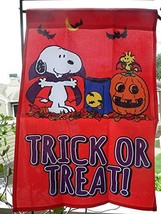"Peanuts Snoopy & Woodstock Little Vampires TRICK OR TREAT! Garden Flag,12"" x 18"" - $34.75"