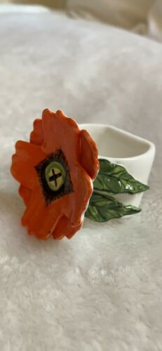 Primary image for Porcelain Napkin Ring with Applied Flower and Leaf, Vintage, Table Togs, Cute