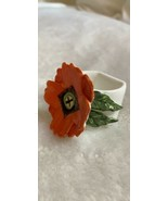 Porcelain Napkin Ring with Applied Flower and Leaf, Vintage, Table Togs,... - $14.95