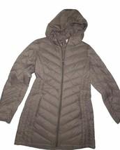 London Fog women's packable down hooded winter Coat dark Taupe Beige Sma... - $100.94