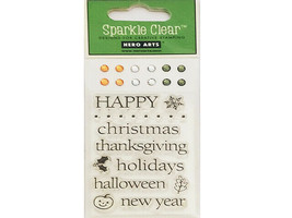 Hero Arts Happy Winter Sparkle Clear Stamp Set with Rhinestones #CL245 - $4.45