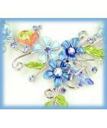 Aquamarine Blue Necklace Earring Set w/ Tiny Snail & Flowers - $19.99