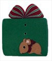 "Christmas Mouse 4419 handmade clay button .87"" JABC Just Another Button Co - $2.75"