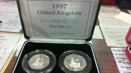1997 United Kingdom Silver Proof Fifty Pence Two-Coin Set - $38.17
