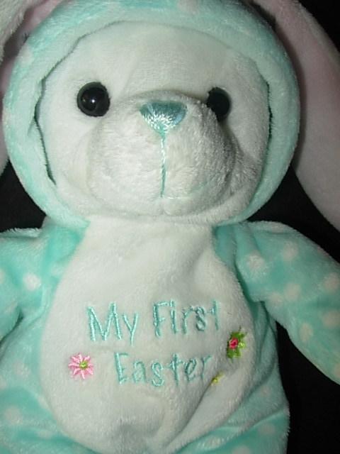 2008 Walmart My First Easter Bunny Aqua Dot Hoodie Plush