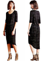 Anthropologie Blouson Midi Dress Petite XSmall P0 P2 Black AMAZING High ... - $67.15