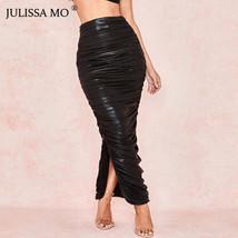 JULISSA MO Sexy Side Split Bodycon Skirt Women New High Waist Pleated Long Skir - $38.99