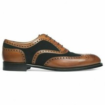 Handmade Men's Brown Leather Black Suede Wing Tip Heart Medallion Oxford Shoes image 1