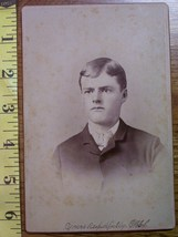 Cabinet Card Good Looking Young Man Named! c.1866-80 - $4.00