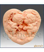 2D Silicone Soap Mold - Angel Heart Couple - $26.00