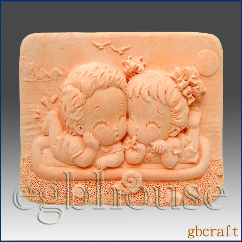 2D Silicone Soap Mold - Country Couple at Seashore