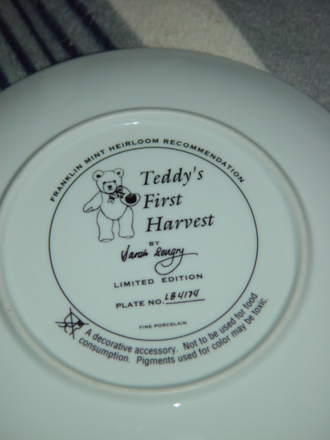 FRANKIN MINT TEDDY'S FIRST HARVEST COLLECTION PLATE