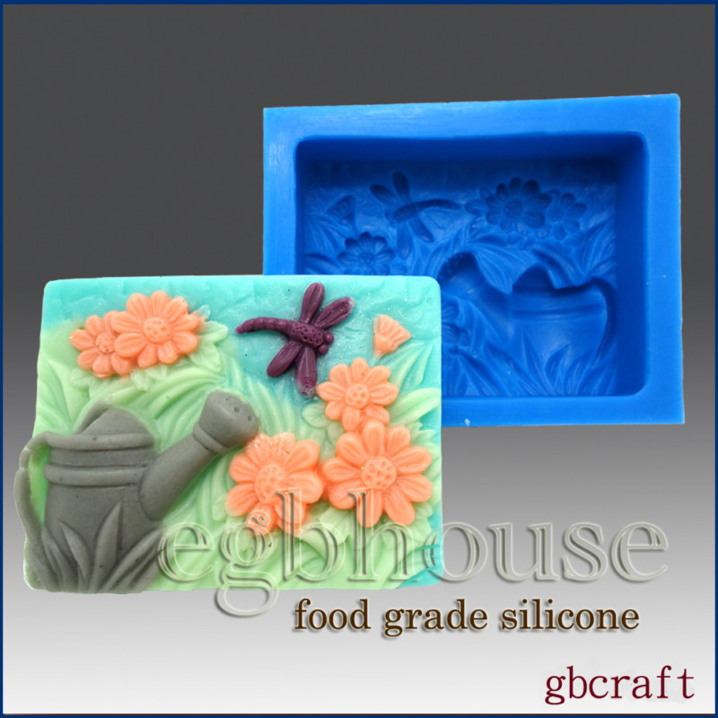Daisies, Dragonfly, Watering Can- 2D Food Silicone Mold