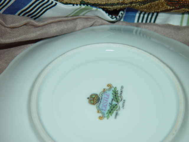 CASTLE CHINA HAND PAINTED SAUCER GOLD TRIM