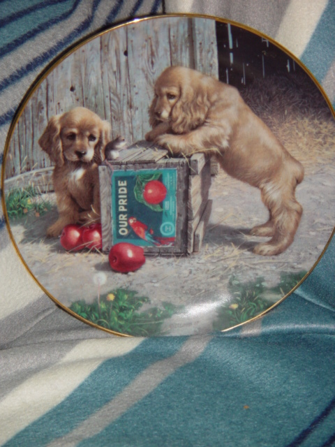 1987 Double Take Puppy Playtime Plate By River Shore