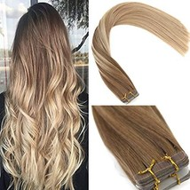Sunny Tape in Remy Human Hair Extensions 22 inch Tape in Balayage Straight Hair