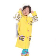 Little Bee Cute Baby Rain Jacket Infant Raincoat Toddler Rain Wear YELLOW S