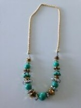 gold toned and turquoise colored beaded necklace - $24.99