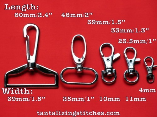 600 Nickel 1.5 Inch Swivel Clips with 0.6 inch D Ring