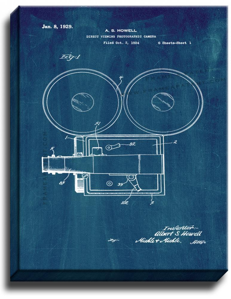 Primary image for Direct-viewing Photographic Camera Patent Print Midnight Blue on Canvas