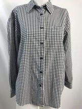 Eddie Bauer Black and White Checked Long Sleeve Blouse Size S/P - $18.99