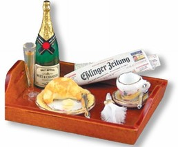 DOLLHOUSE MINIATURE Champagne Breakfast Reutter 14578 French Rose Miniat... - $37.00
