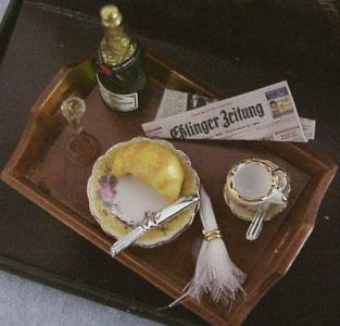 DOLLHOUSE MINIATURE Champagne Breakfast Reutter 14578 French Rose Miniature 1:12