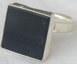 Black agate square ring - $24.00