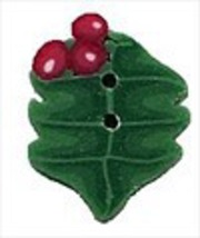 "Tiny Holly 4447t handmade clay button .375"" JABC Just Another Button Co - $1.80"